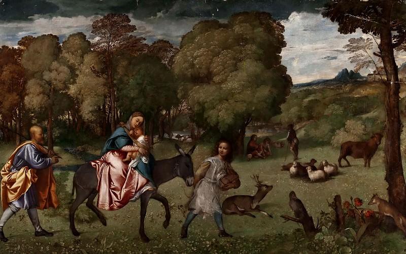 Flight into Egypt. Titian (Tiziano Vecellio)