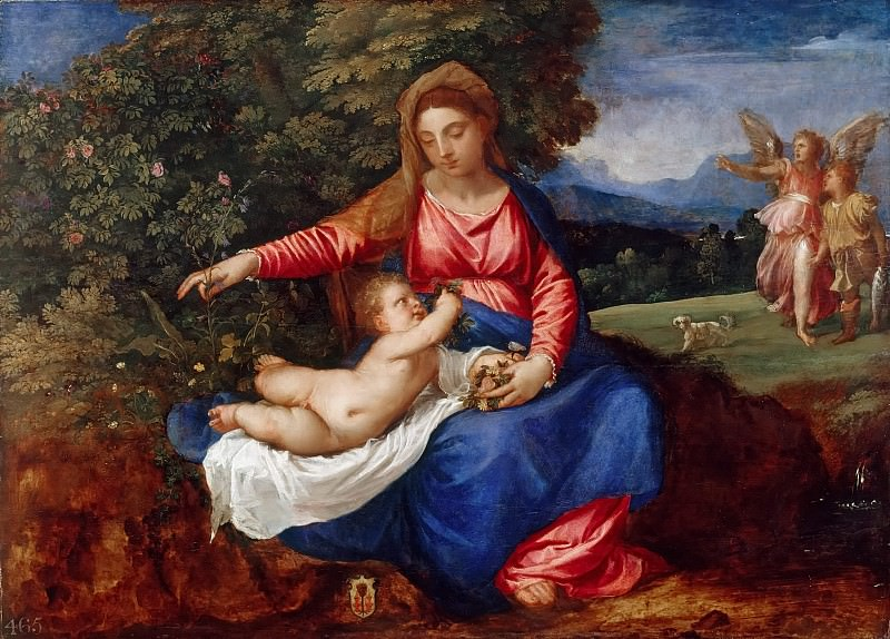 Madonna and Child in a Landscape with Tobias and the Angel. Titian (Tiziano Vecellio)