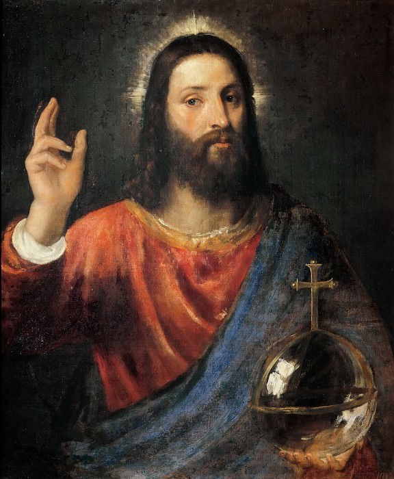 Christ Blessing. Titian (Tiziano Vecellio)