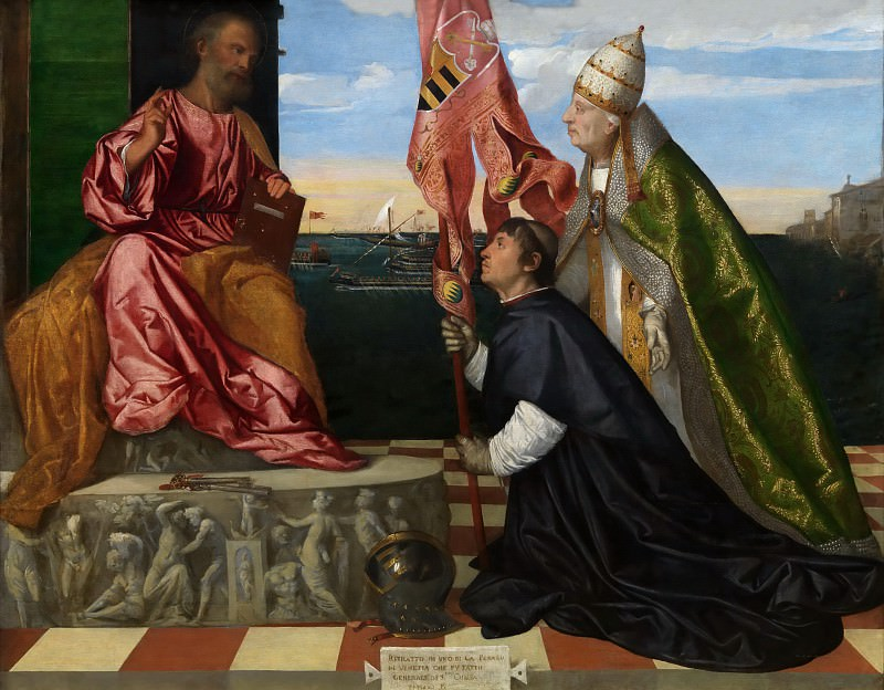 Jacopo Pesaro, Bishop of Paphos, being Presented by Pope Alexander VI to Saint Peter. Titian (Tiziano Vecellio)