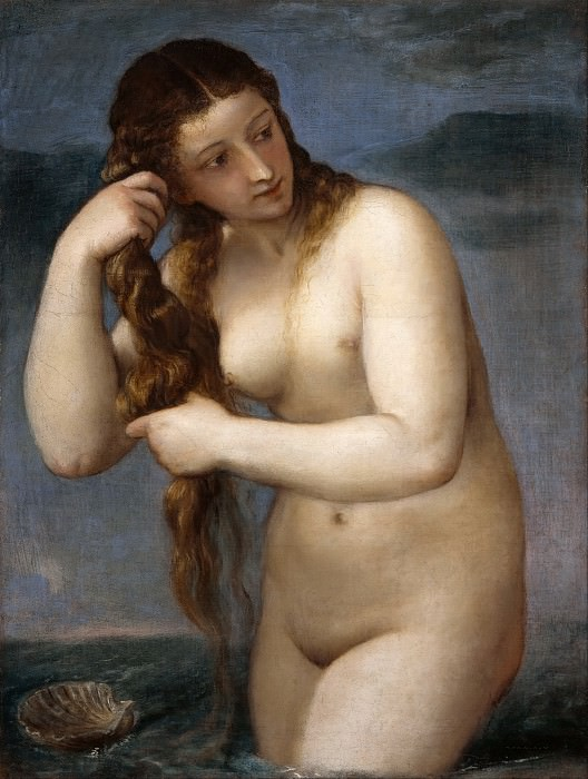Venus Rising from the Sea (Venus Anadyomene). Titian (Tiziano Vecellio)