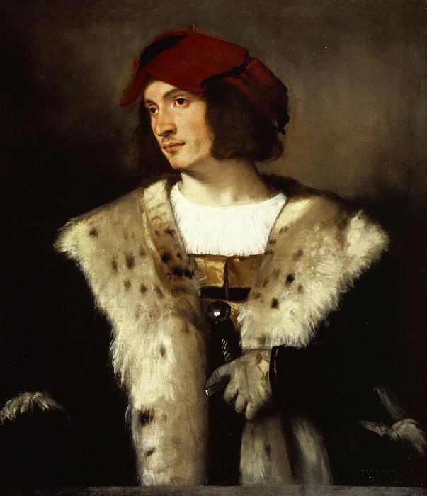 Portrait of a man in a red cap. Titian (Tiziano Vecellio)