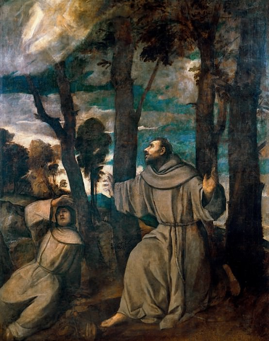 St Francis receiving the stigmata. Titian (Tiziano Vecellio)