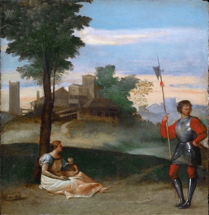 An Idyll - A Mother and a Halberdier in a Landscape. Titian (Tiziano Vecellio)