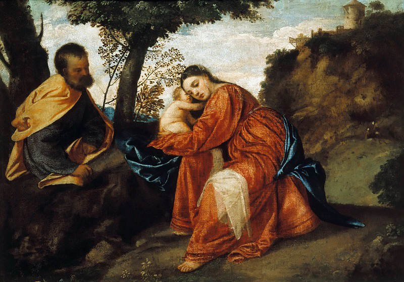 Rest on the Flight into Egypt. Titian (Tiziano Vecellio)