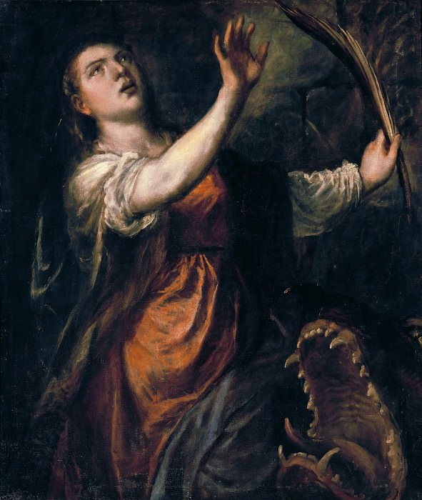 Saint Margaret and the Dragon. Titian (Tiziano Vecellio)