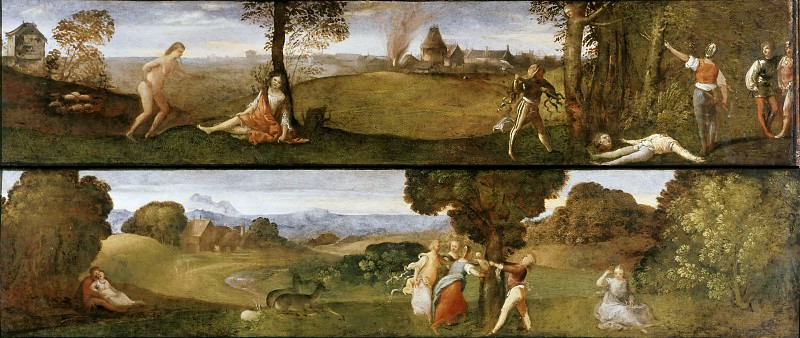 Death of Polydorus and Birth of Adonis (Cassone panels). Titian (Tiziano Vecellio)