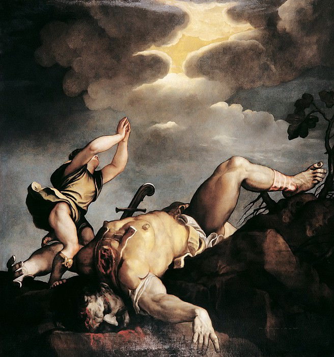 David and Goliath. Titian (Tiziano Vecellio)