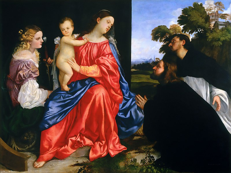 Sacra Conversazione (Virgin and Child with Saints Catherine and Dominic). Titian (Tiziano Vecellio)