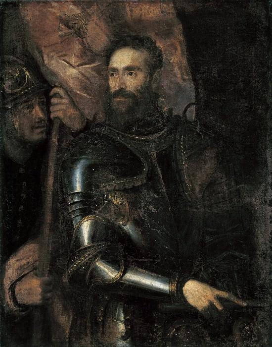 Portrait of Pierluigi Farnese with His Standard Bearer. Titian (Tiziano Vecellio)