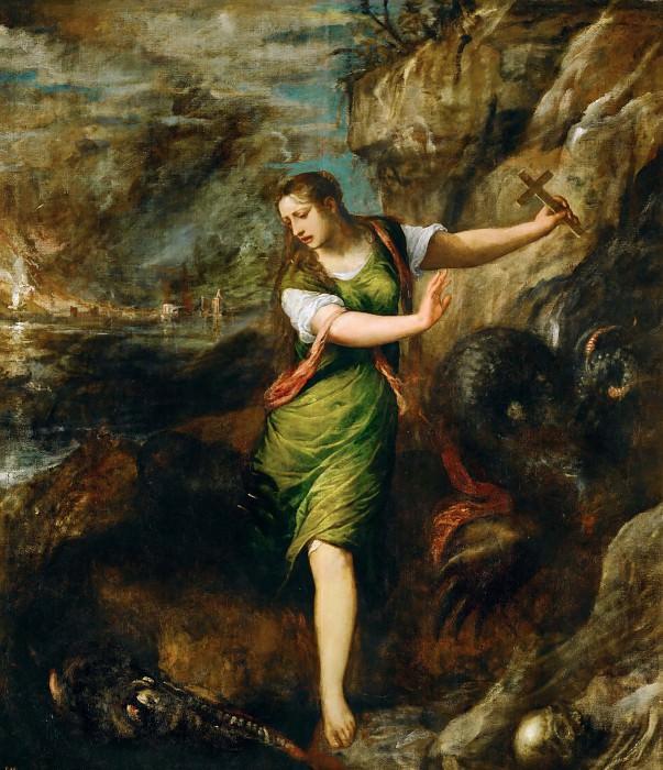 Saint Margaret and the Dragon. Titian (Tiziano Vecellio)
