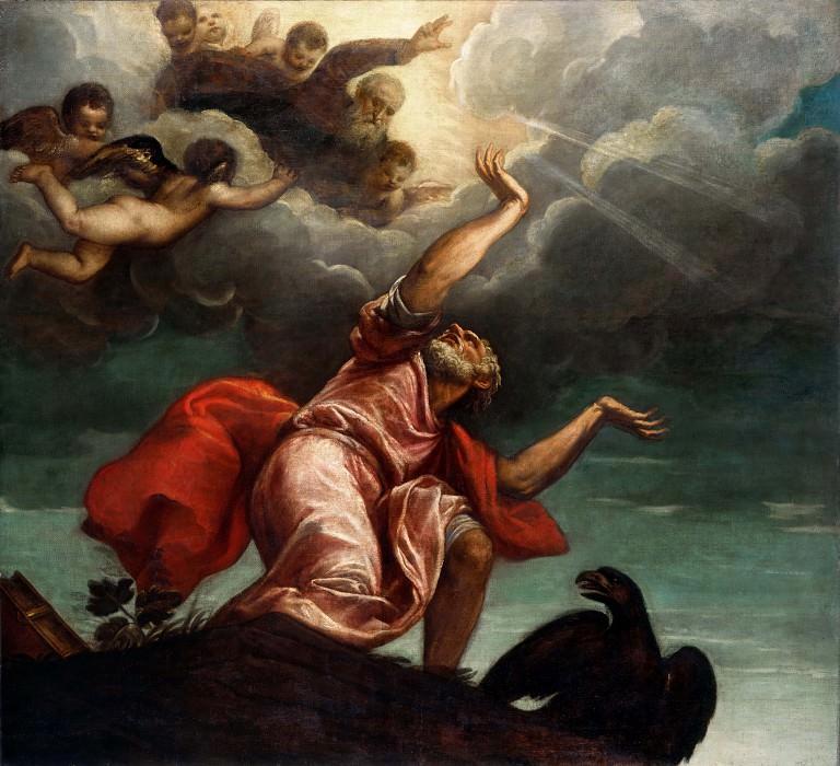 Saint John the Evangelist on Patmos. Titian (Tiziano Vecellio)