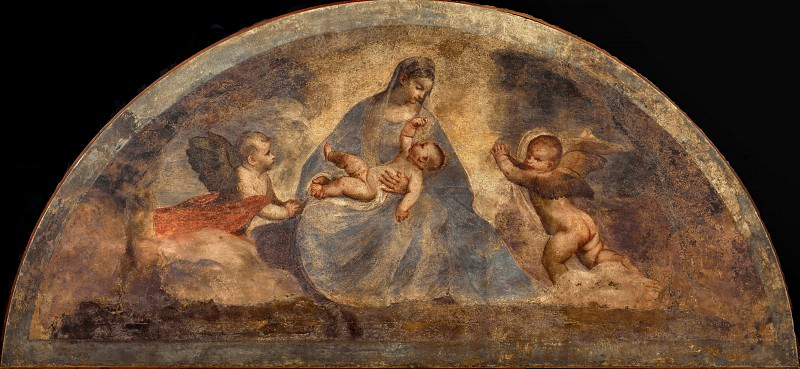 Virgin and Child with two Angels. Titian (Tiziano Vecellio)