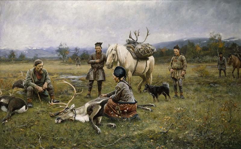 Саамы, собирающие застреленных оленей. Юхан Тирен