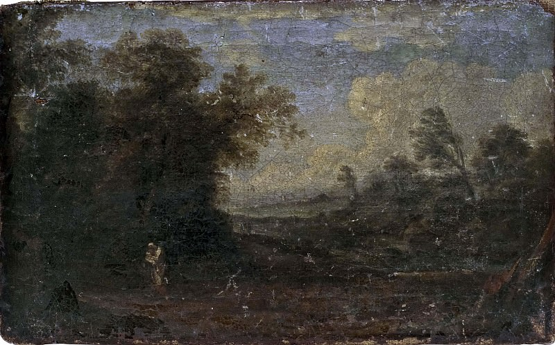 Landscape with rest on flight into Egypt. Unknown painters