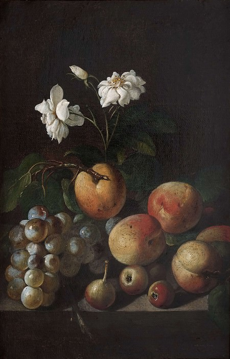 Still Life with Fruit and White Roses. Unknown painters