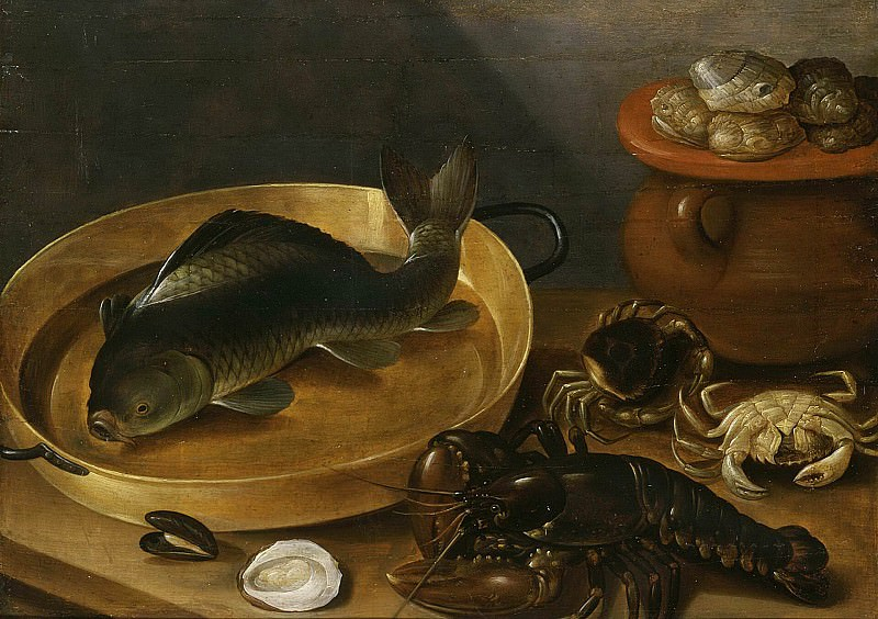 Kitchen Still Life with a Carp and Shellfish. Unknown painters