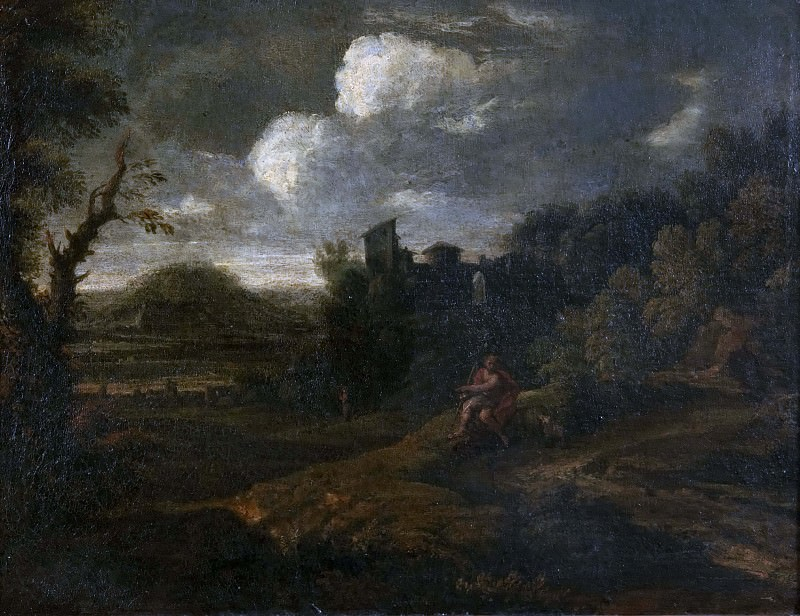 Landscape with St John the Baptist. Unknown painters