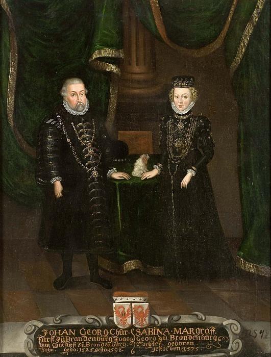 Johan Georg (1525-1598), Elector of Brandenburg. Sabina (1529-1575), of Bayteuth. Unknown painters