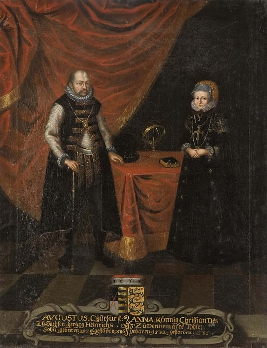 August (1526-1586), Prince of Saxony, Anna (1532-1585), Princess of Denmark. Unknown painters
