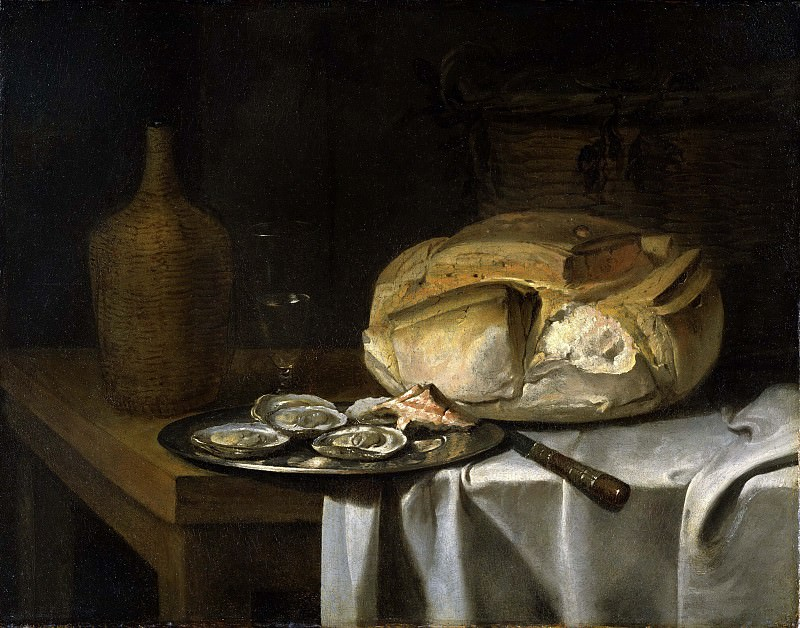 Still Life with a Loaf of Bread, Oysters and a Flask. Unknown painters
