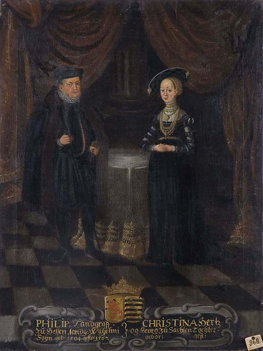 Philip (1504-1567), Landgrave of Hessen-Kassel. Kristina (1505-1549), Princess of Saxony. Unknown painters