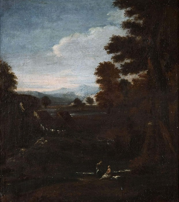 Mountainous Landscape with Waterfall. Unknown painters