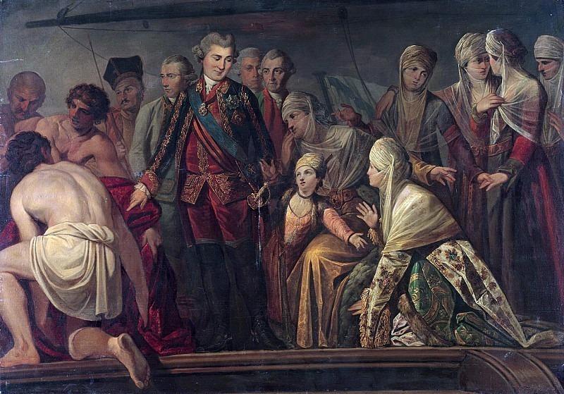 Граф А.Г.Орлов после Чесменского боя. Неизвестные художники