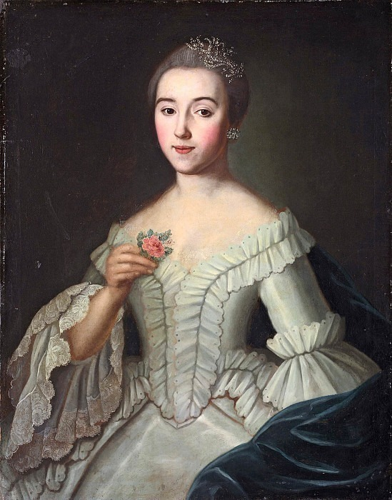 Portrait of an Unknown Woman with a Rose. Unknown painters