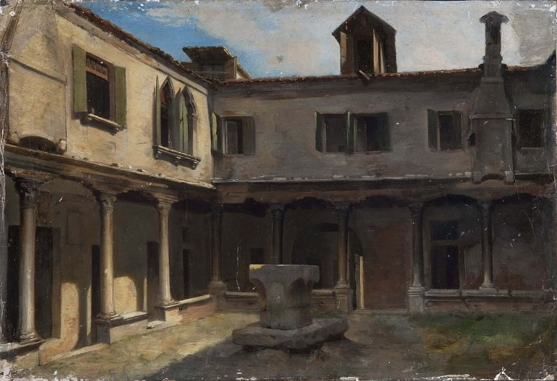 Patio of an Italian convent. Unknown painters