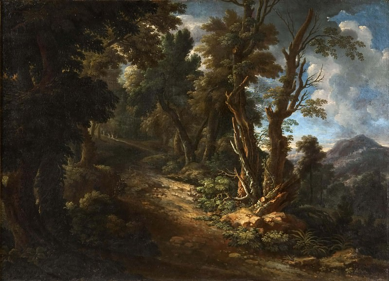 Landscape with a Road through a Forest. Unknown painters
