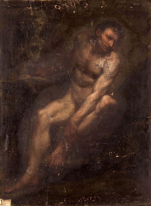 Figure study of sitting man. Unknown painters