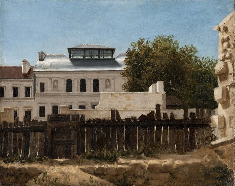 Demolition plot with palladian villa in the background. Unknown painters