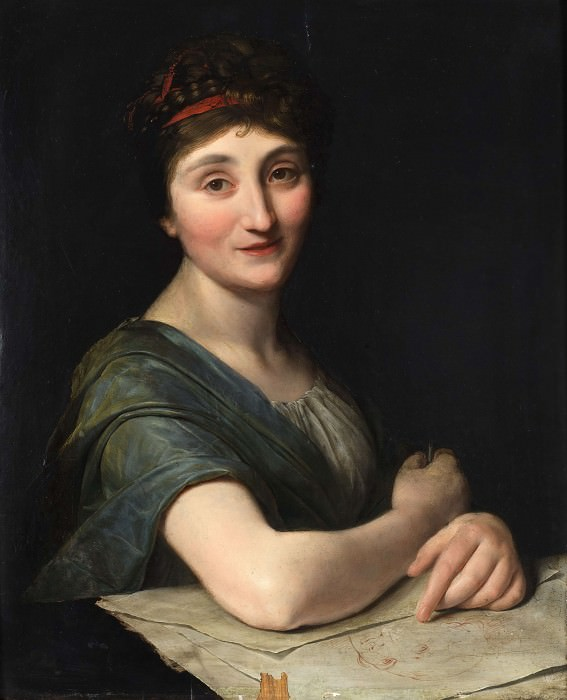 Portrait of female artist with drawing. Unknown painters
