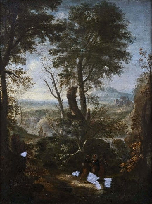 Landscape with Christ and the Two Disciples on the Way to Emmaus. Unknown painters