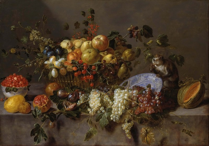 Still Life with Fruit and a Monkey eating Grapes. Adrian Van Utrecht