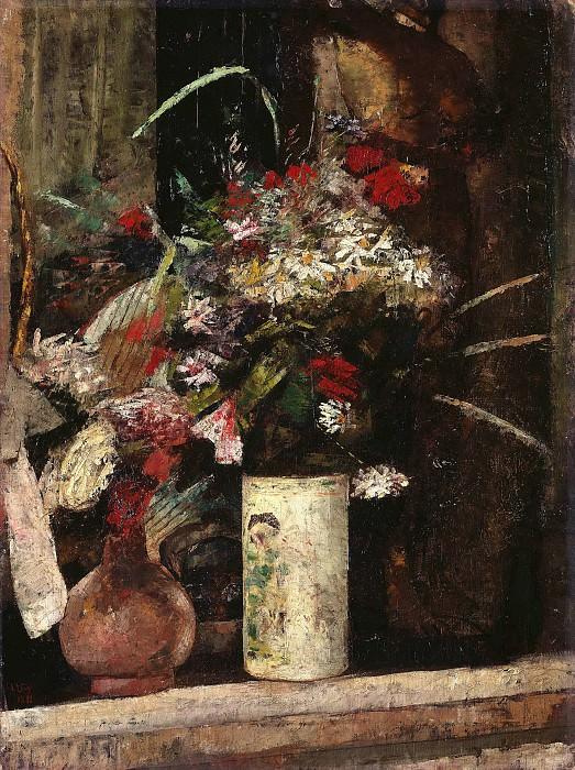Flowers on the fireplace. Lesser Ury