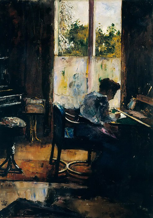 Woman Writing at a Desk. Lesser Ury