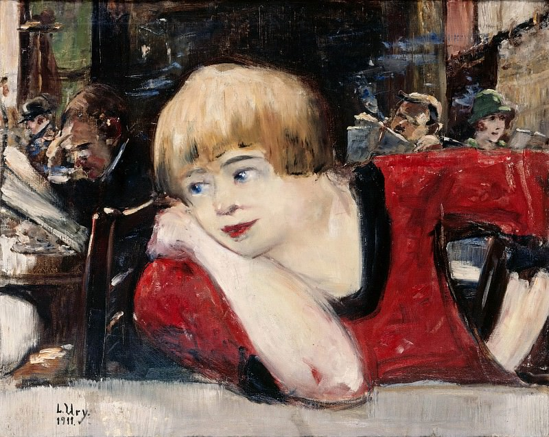 In Cafe. Woman in red. Lesser Ury