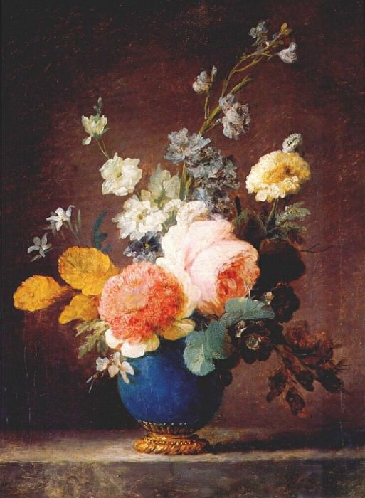 vallayer-coster roses ramunculus etc in blue vase c1775-80. Anne Vallayer-Coster