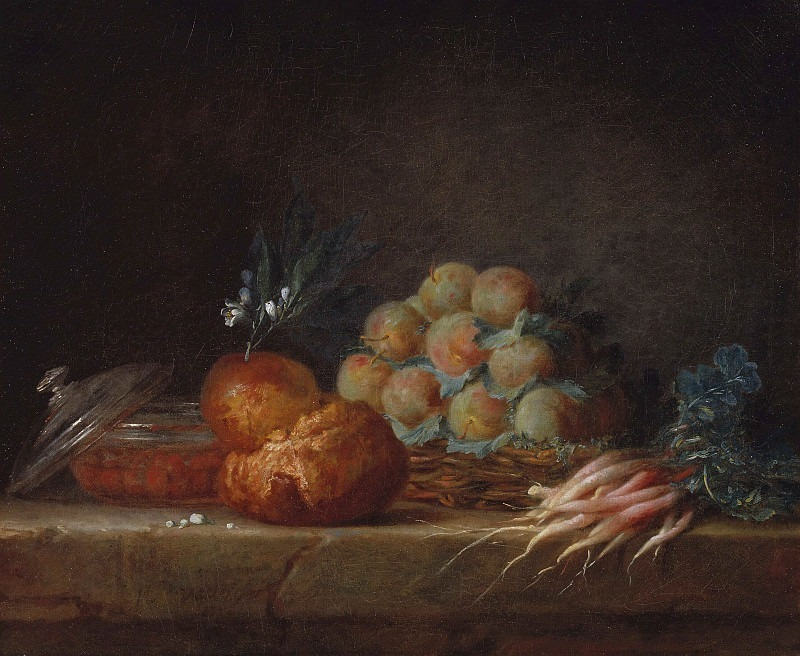 Still Life with Brioche, Fruit and Vegetables. Anne Vallayer-Coster