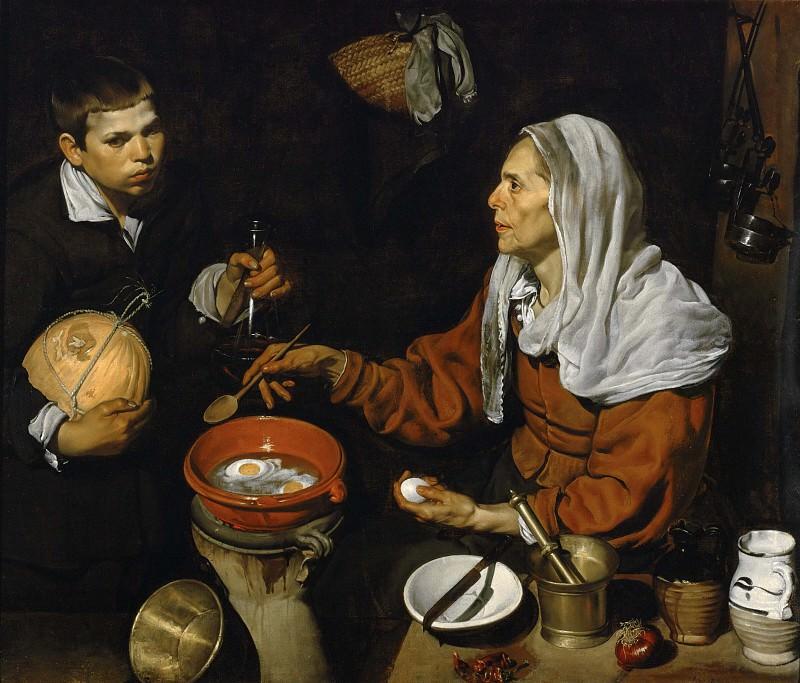 An Old Woman Cooking Eggs. Diego Rodriguez De Silva y Velazquez