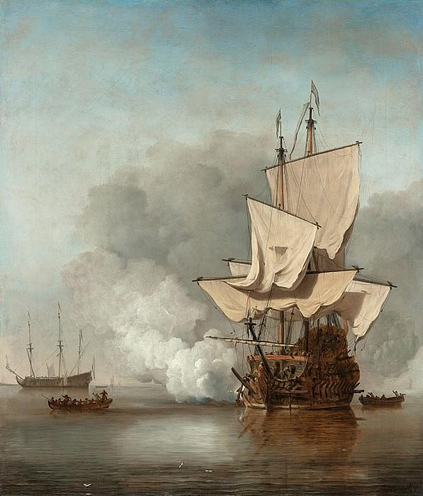 Виллем ван де Вельде - Пушечный выстрел. Willem van de Velde the Younger (The Cannon Shot)