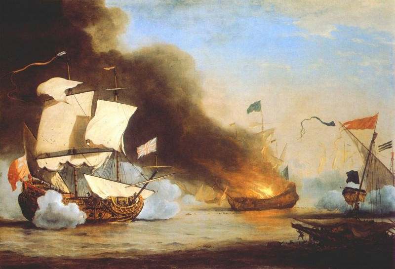 Velde-The-Younger An English Ship In Action With Barbary Corsairs. Willem van de Velde the Younger
