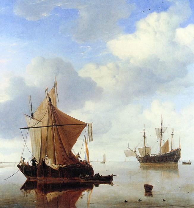 Velde van de Willem jr A calm sea Sun. Willem van de Velde the Younger