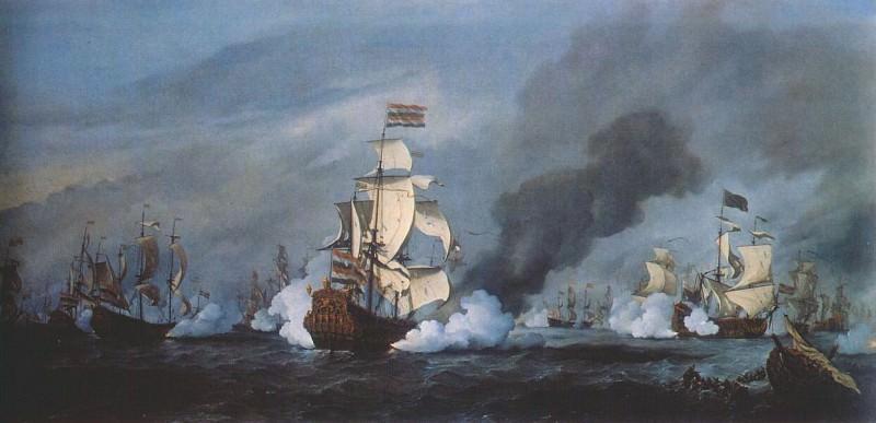 Velde-The-Younger The Battle Of Kijkduin Near Texel (21 August 1673) 1687. Willem van de Velde the Younger