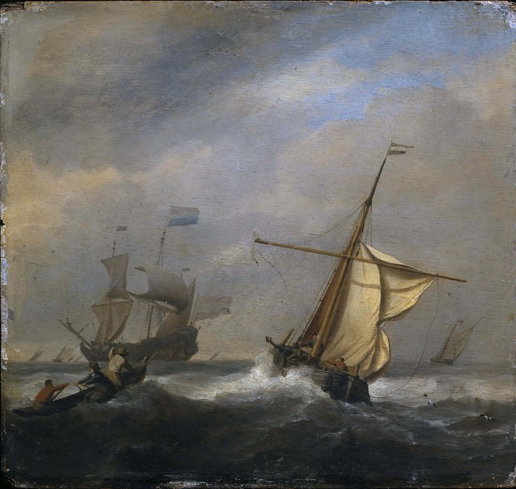 Fishing Boats in a Gabe. Willem van de Velde the Younger