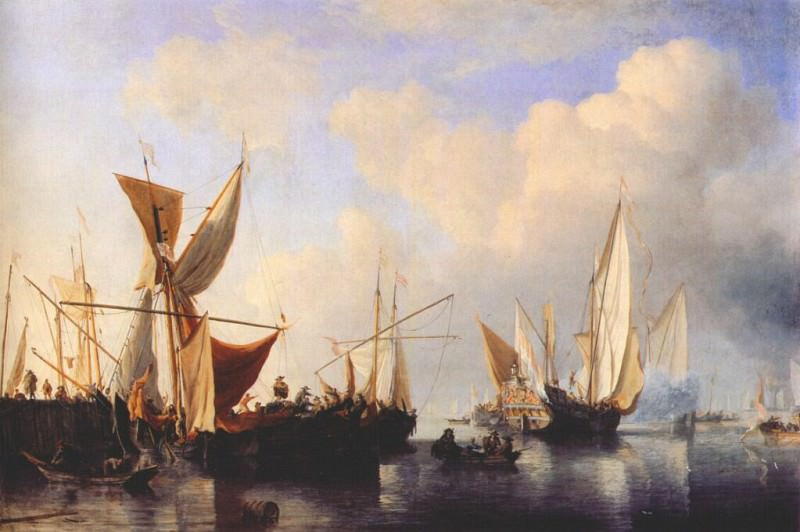 Velde-The-Younger Breakwater With Ships And A Yacht Setting Sail 1673. Willem van de Velde the Younger