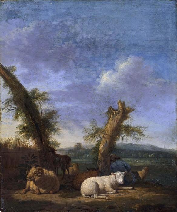 Landscape with Sheep and a Sleeping Shepherd. Adriaen van de Velde