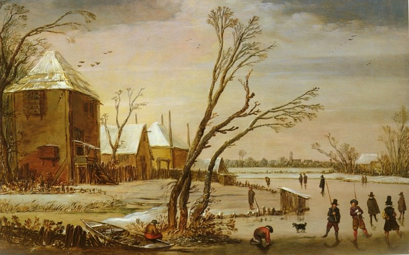 De Velde Esaias Van (Amsterdam) 1590 to 1630 A Winter Landscape With Skaters On A Frozen River S. Van De Esaias Velde